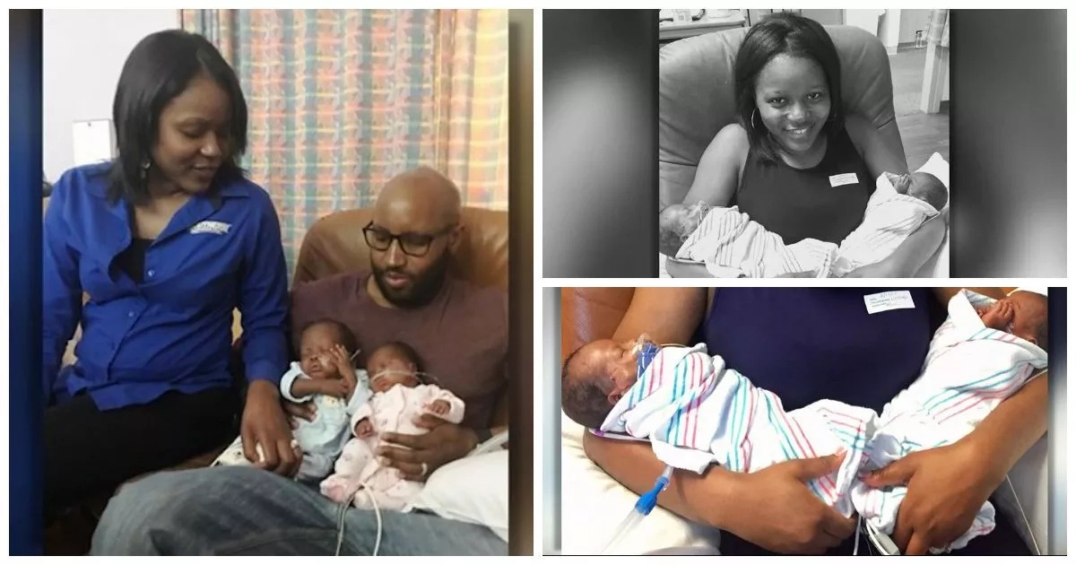 Meet woman who gives birth TWICE as her twins are born premature and 2 weeks apart (photos, video)