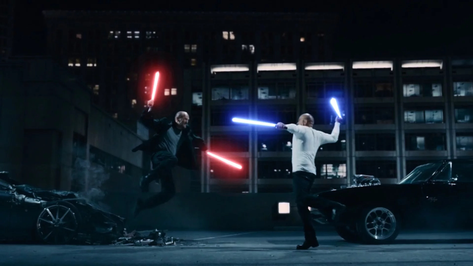 Vin Diesel + Jason Statham + Lightsabers = 1 badass fight!