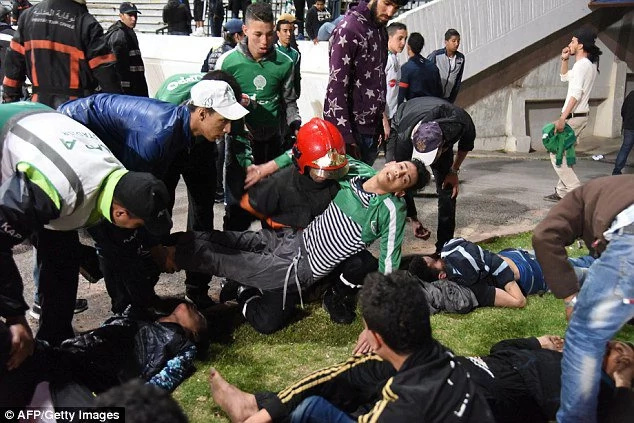 Football fans in Morroco brawl after the game