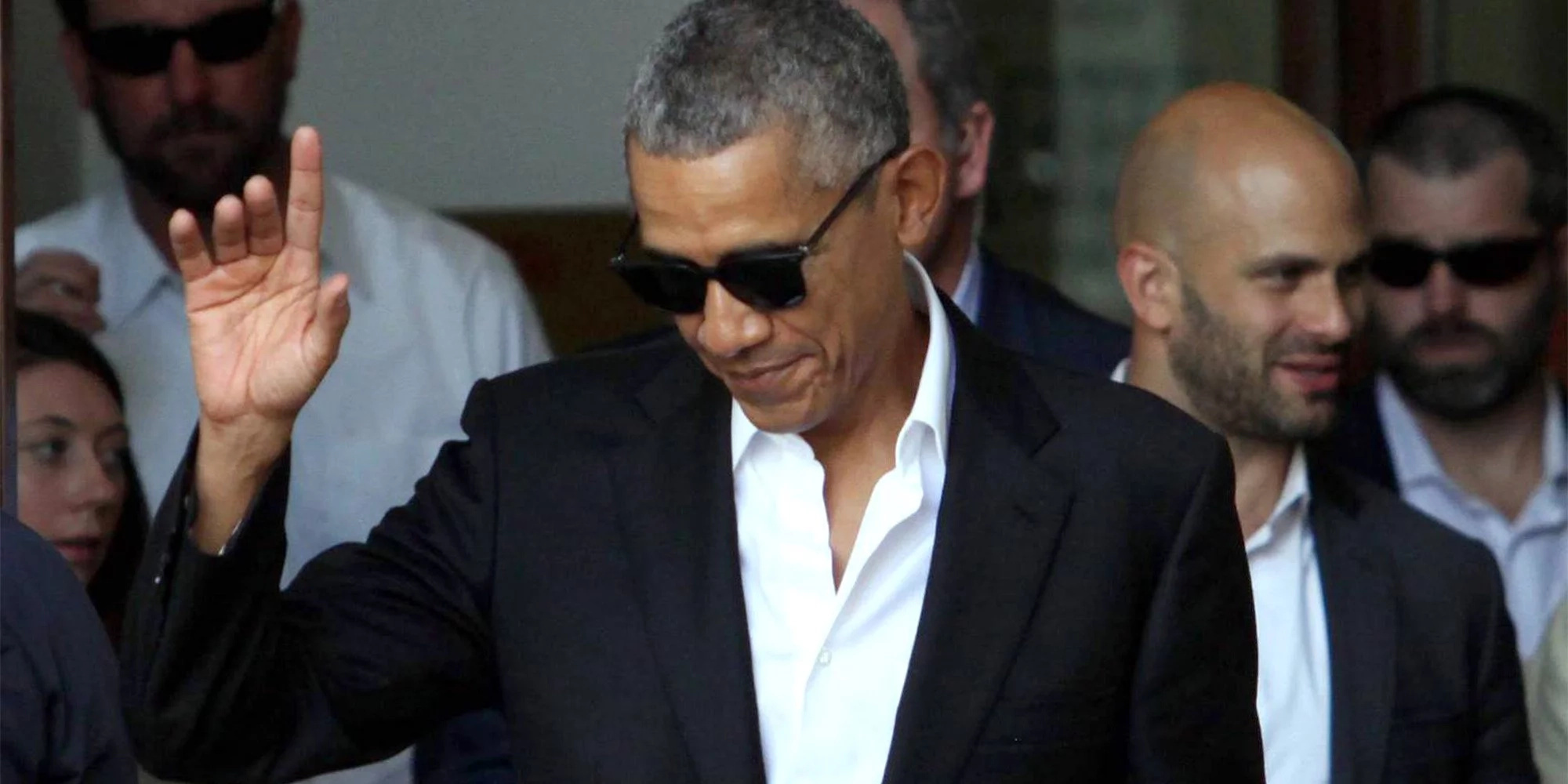 Obama's new look is a far cry from the formal suits and ties he wore during his two terms in office