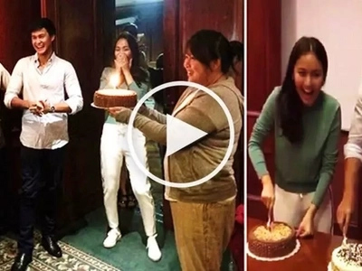 Watch Kathryn Bernardo & Matteo Guidicelli get a surprise party from crew of 'Can't Help Falling in Love'