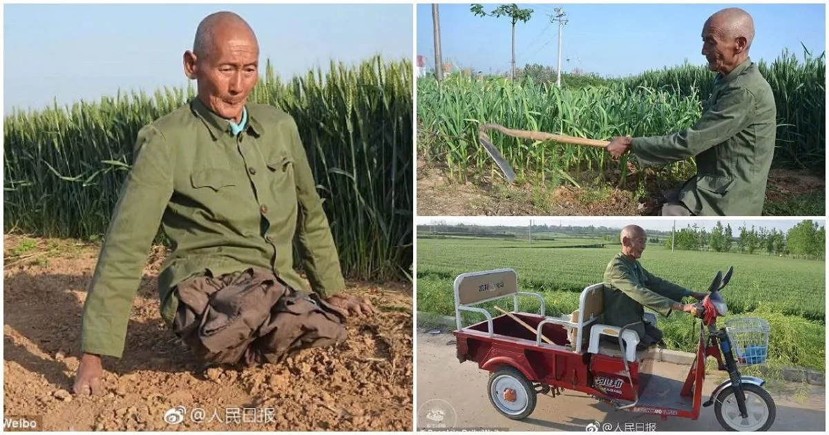 Incredible! See how man without LEGS has been taking care of his family for 40 years (photos)