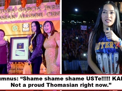 Pinag-away niya mga Thomasians! UST students and graduates express outrage over Mocha Uson's Government Service award given by UST Alumni Association