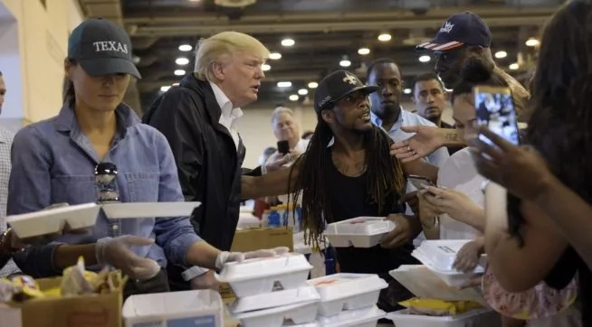 President Trump and First Lady Melanie distribute food to survivors of Hurricane Harvey. Photo: Talking Points Memo