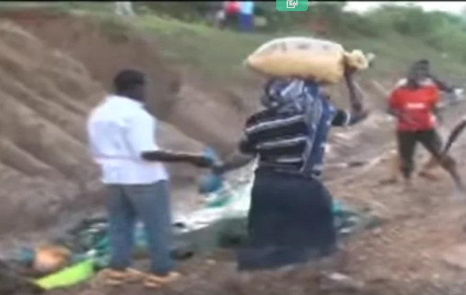 Drama in Kakamega after truck carrying maize overturns