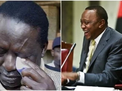 8 photos of Raila struggling to wipe tears from his left eye and the story behind it