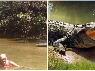 Daredevil grandfather swims in crocodile-infested river to impress his 14 grandkids