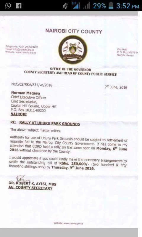 CORD owes City Hall KSh250,000 for use of Uhuru Park