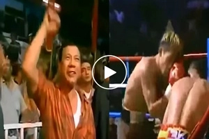 Die-hard fan pala siya! Watch how Duterte cheers for Pacquiao at ringside in his 2002 fight!