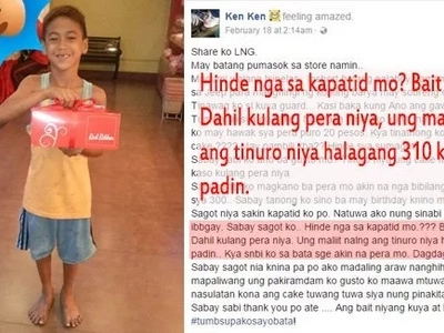 Red Ribbon crew's heart touched by filthy street kid who entered shop to buy cake for younger sibling