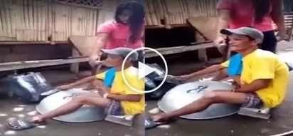 Pambihira! This man uses plastic container and giant pan to cover April Boy's classic hit