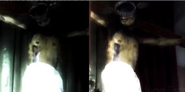 Estatua de Jesús abre sus ojos en una iglesia de México