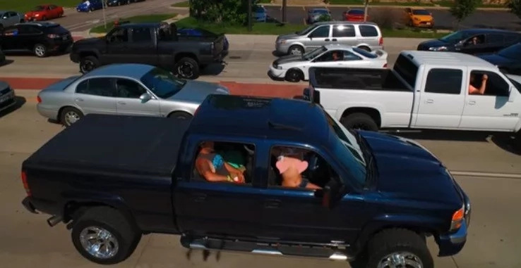 Girl In A Pickup Truck Flashes BOOBS At DRONE