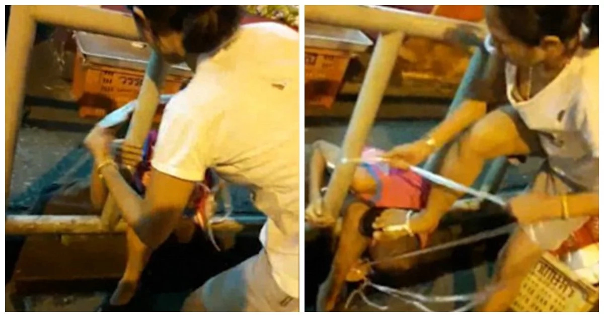 Monster! Police launches manhunt for mother who tied her son on railings to punish him (photos)