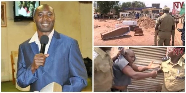 Unique protest! Protesters dump COFFINS at church to teach pastor a lesson (photos, video)