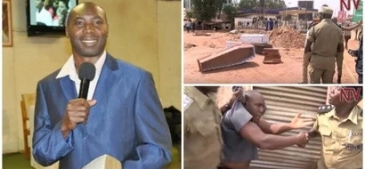 """Casket protest! Aggrieved traders bring COFFINS to church for pastor to """"eat"""" them (photos, video)"""