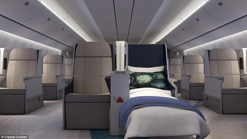 The luxury arm-chair style seats fully recline into spacious beds. Photo: Crystal Cruises