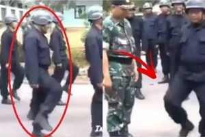 May pag talbog eh! This sloppy soldier just couldn't do the proper marching and it's adorable