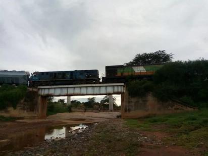 Scare as Cargo trains collide in Mtito Andei