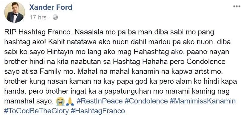 Netizens bash Xander Ford's social media post about Franco Hernandez's death