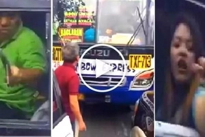 Counterflowing bus driver, passengers get angry at car driver for confronting them in Quezon City