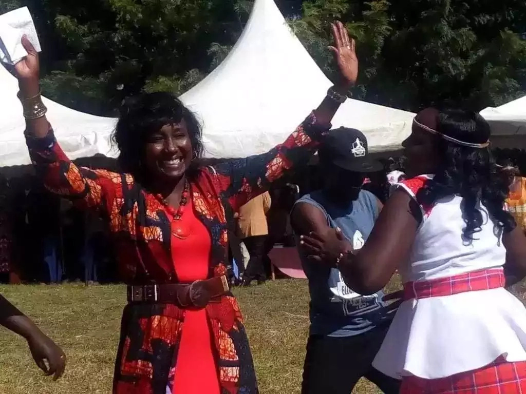 Gladys Boss Shollei walks out of a live TV interview