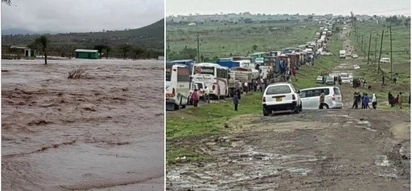 River Sultan Hamud breaks its banks; paralyses transport along Mombasa-Nairobi highway for hours