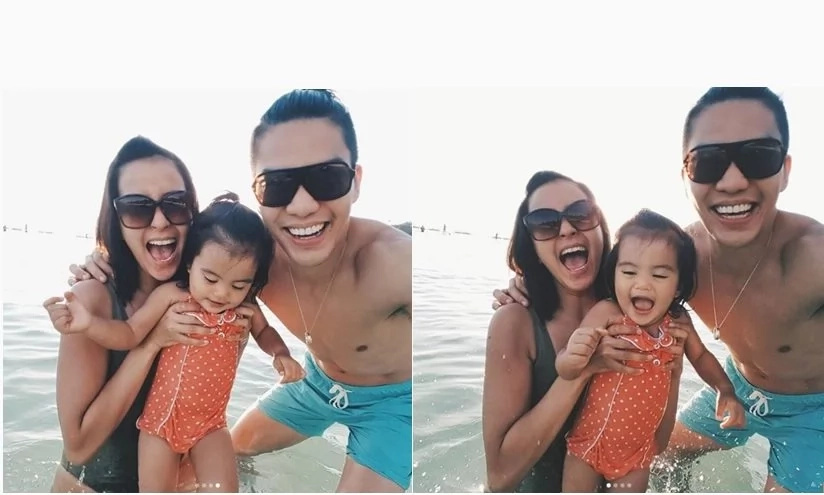 Bianca Gonzalez Became a Third Wheel to Baby Lucia and JC Intal in Boracay, Philippines