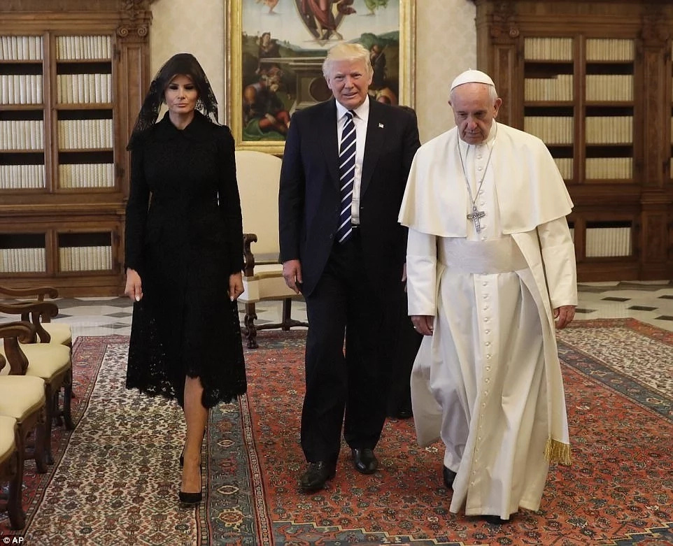 Demure Melania Trump visits Vatican with black vale, in head-to-toe black