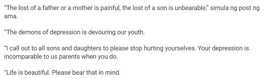 Nadine Lustre's dad breaks silence on son's death