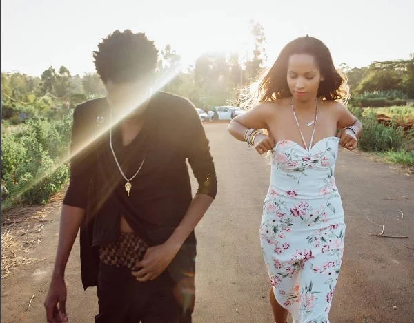 Eric Omondi's sweetheart struggles to contain her boobs in an elegant outfit