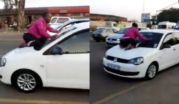 Man was caught cheating. Wife clings to husband's car windscreen as he escapes with 'side chick'