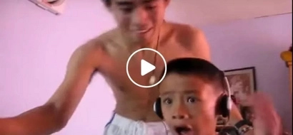 Ginulat naman daw kasi si bagets! Surprised young Pinoy curses older brother after watching horror video