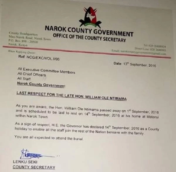 Narok county declares public holiday for Ntimama's burial