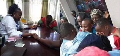 Bishop Margret Wanjiru prays for Jaguar in order to get the Jubilee ticket from Maina Kamanda