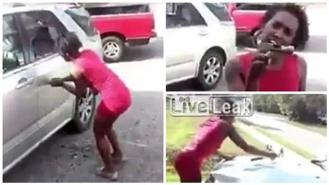 Woman goes completely berserk, smashes ex-lover's car with hammer in REVENGE (photos, video)