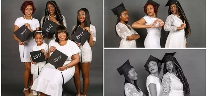 Joy as mom, 3 daughters and granddaughter all graduate in the same year (photos)