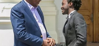 Singer Bahati 'behaves like a spoilt boy' in these photos of him meeting Uhuru