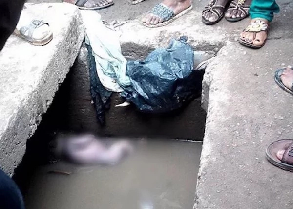 Newborn Baby Dumped & Abandoned Inside Dirty Gutter (Photos)