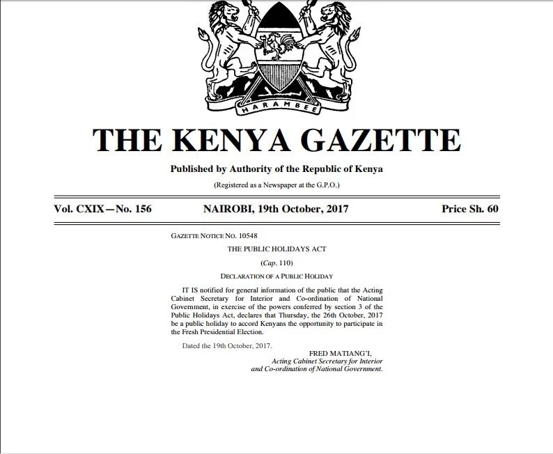 Matiangi accords a free a holiday to Kenyans.