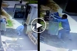 Bastos na driver! Perverted truck driver steals girl's underwear by pretending to have flat tire