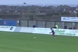 What An Amazing Coincidence - Football Goal Kick Hits Seagull in Midair