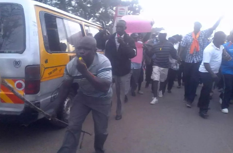Kisumu Youths demonstrate in solidarity with Raila Odinga