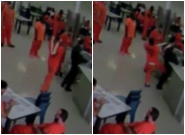See terrifying moment prison inmate tries to STRANGLE guard before fellow inmates tackle him (photos, video)