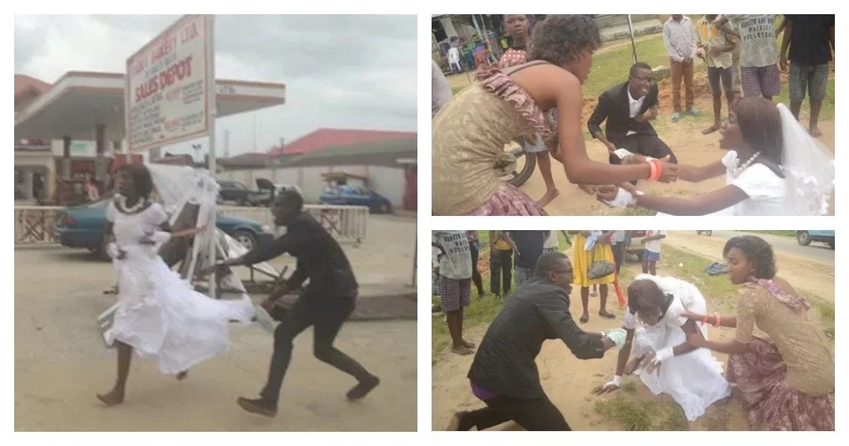 Drama as bride tells groom she does not love him, flees from the altar (see photos)