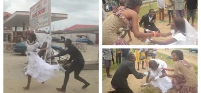 Drama as bride tells groom she does not love him, FLEES from the altar (photos)