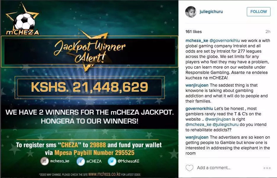 mCHEZA jackpot bonuses winners angered by low returns