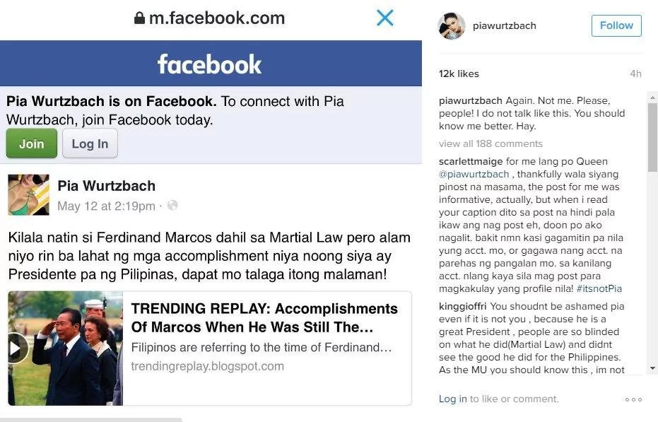 Pia Wurtzbach warns of poser praising Marcos