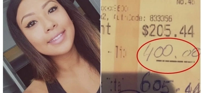Generous couple leaves waitress in shock and tears after giving her Ksh40,000 tip and paying off all her debts (photos)