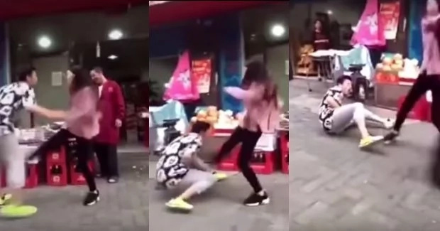 Girlfriend kicks guy 9 times after he refused to buy her fruits